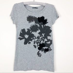 Jcrew gray floral graphic Tee.